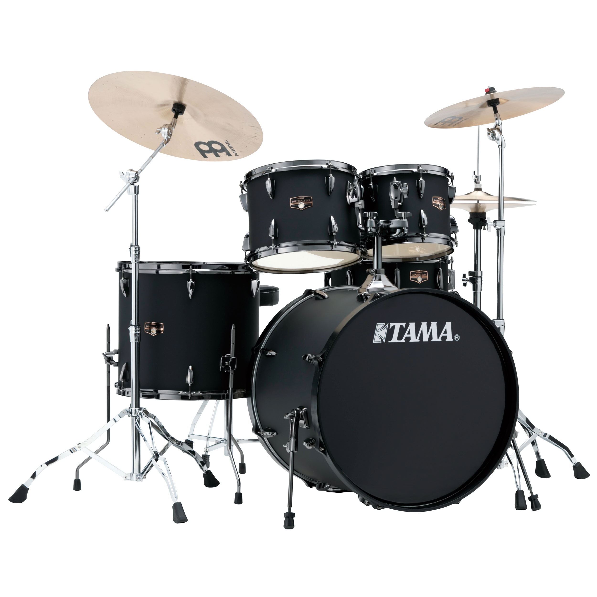 "Tama Imperialstar 5-Piece Drum Set with Black Nickel Hardware and Cymbals (22"" Bass, 10/12/16"" Toms, 14"" Snare)"