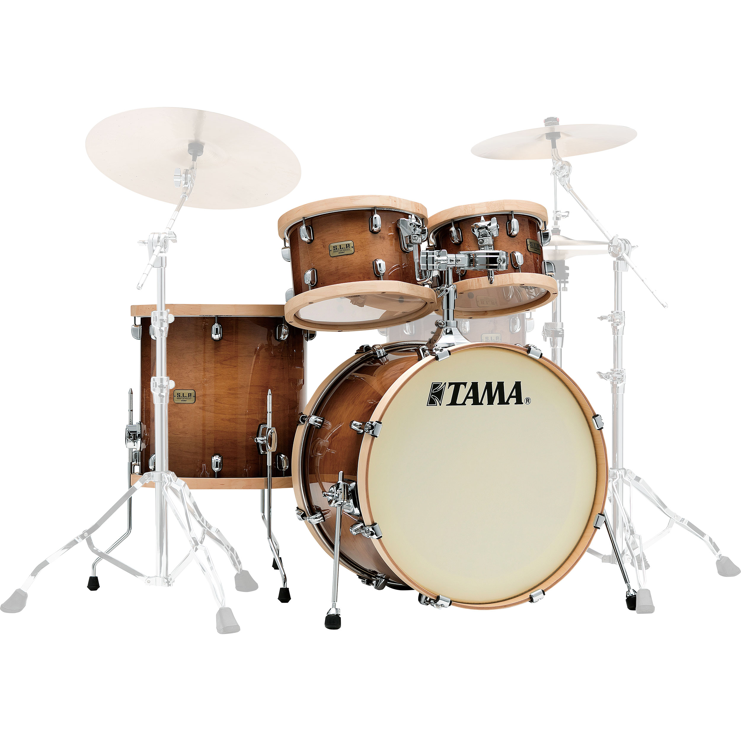 "Tama S.L.P. Studio Maple 4-Piece Drum Set Shell Pack (22"" Bass, 10/12/16"" Toms) in Gloss Sienna"