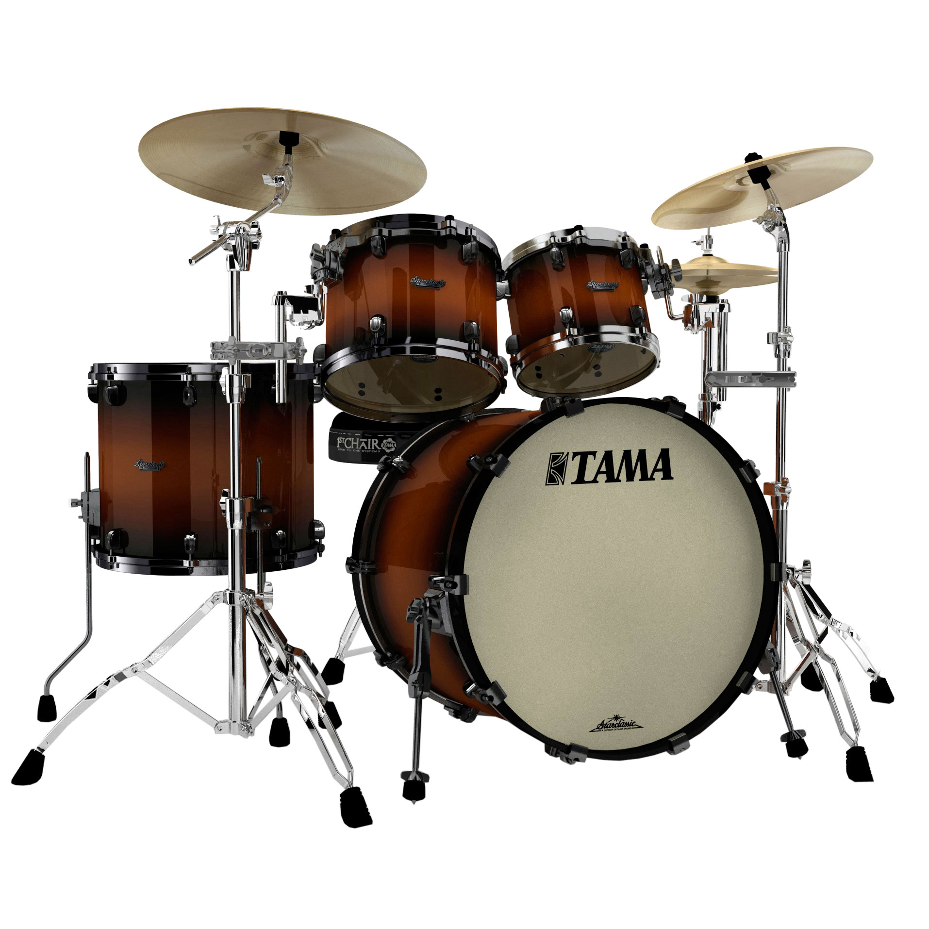 tama starclassic maple 4 piece drum set shell pack 22 bass 10 12 16 toms mp42zbns. Black Bedroom Furniture Sets. Home Design Ideas