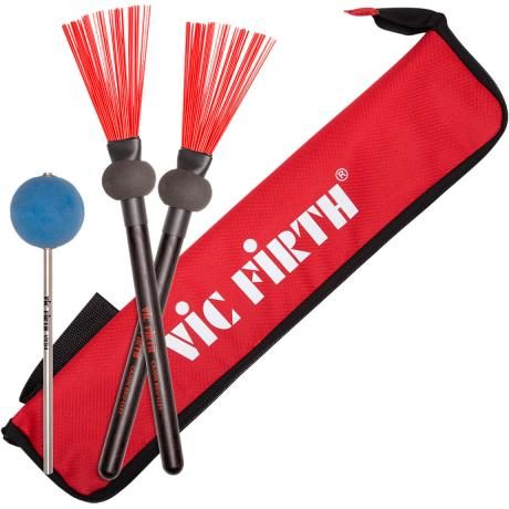 Vic Firth Cajon Bru-llet Hybrid Brush/Mallets and Cajon Pedal Beater with FREE Red Essentials Stick Bag