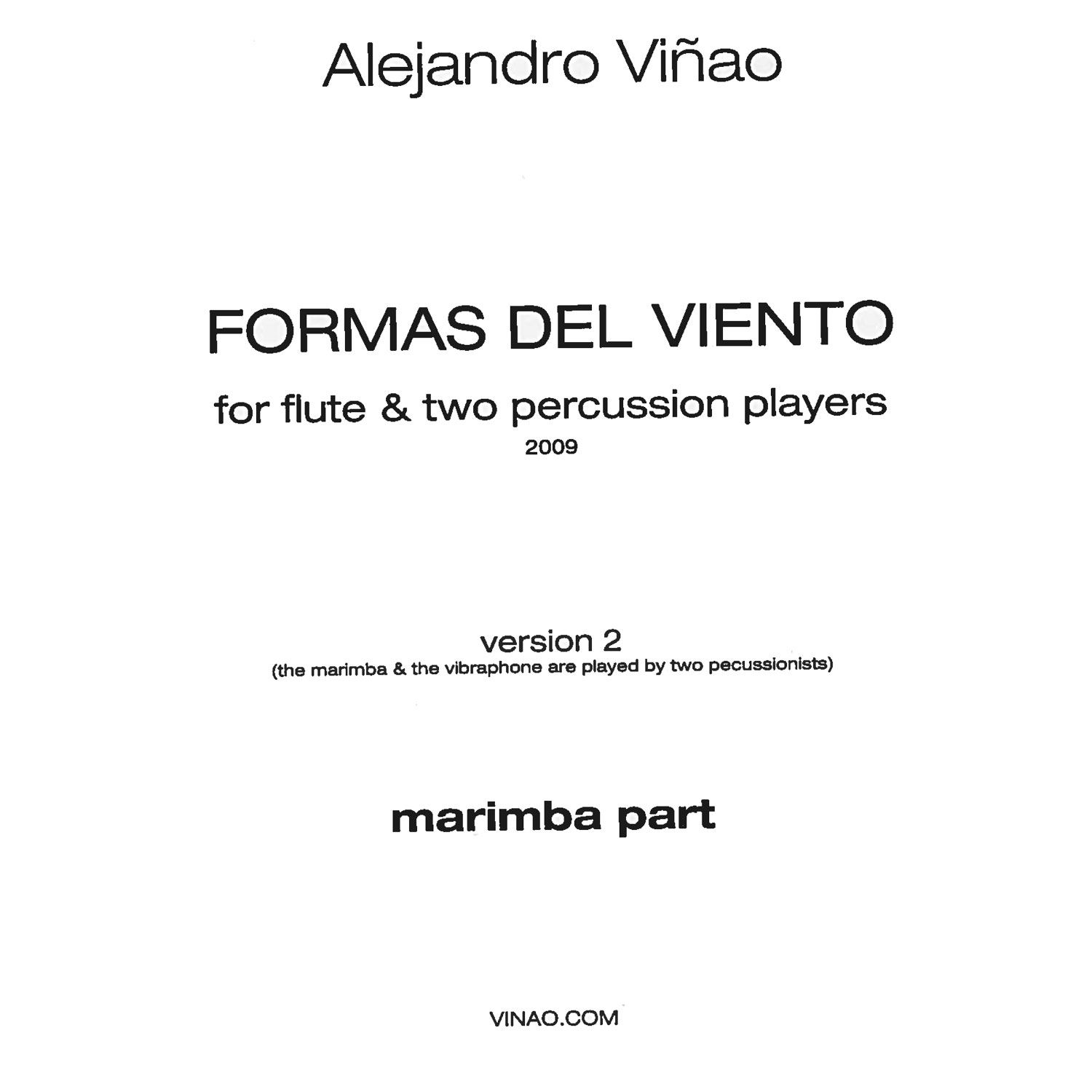 Formas del Viento, Version 2 by Alejandro Vinao (Parts)