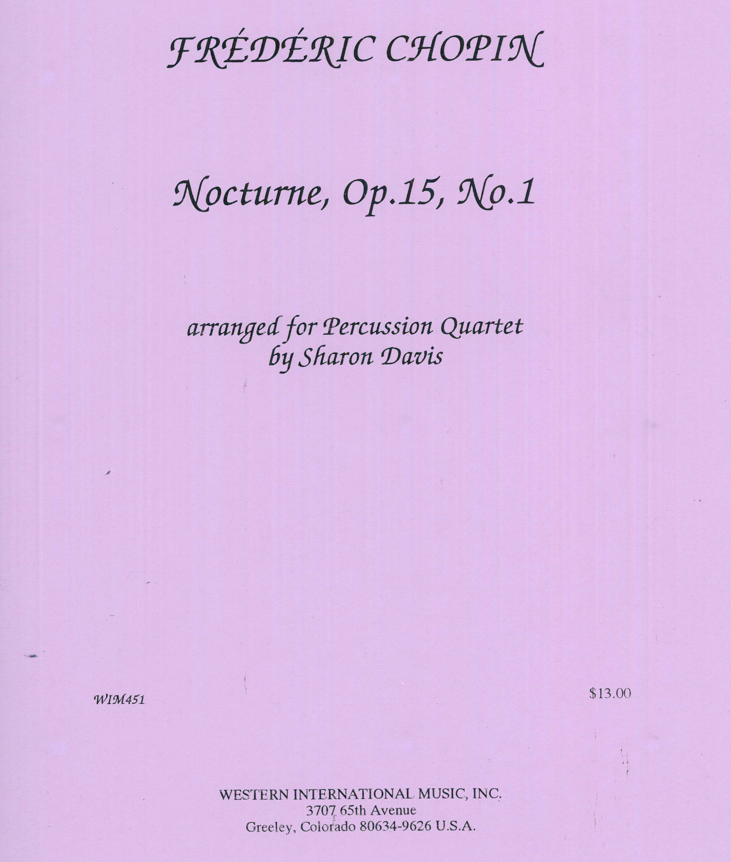 Nocturne, Op. 15, No. 1 by Frederic Chopin arr. Sharon Davis