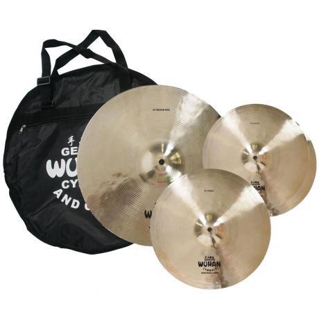 Wuhan Cast 3-Piece Cymbal Box Set (Hi Hats, Crash, Ride) with Free Bag