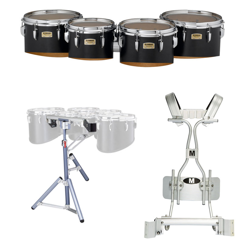 "Yamaha 10-12-13-14"" 8300 Field-Corps Marching Tenors with Tube Carrier and Stand"