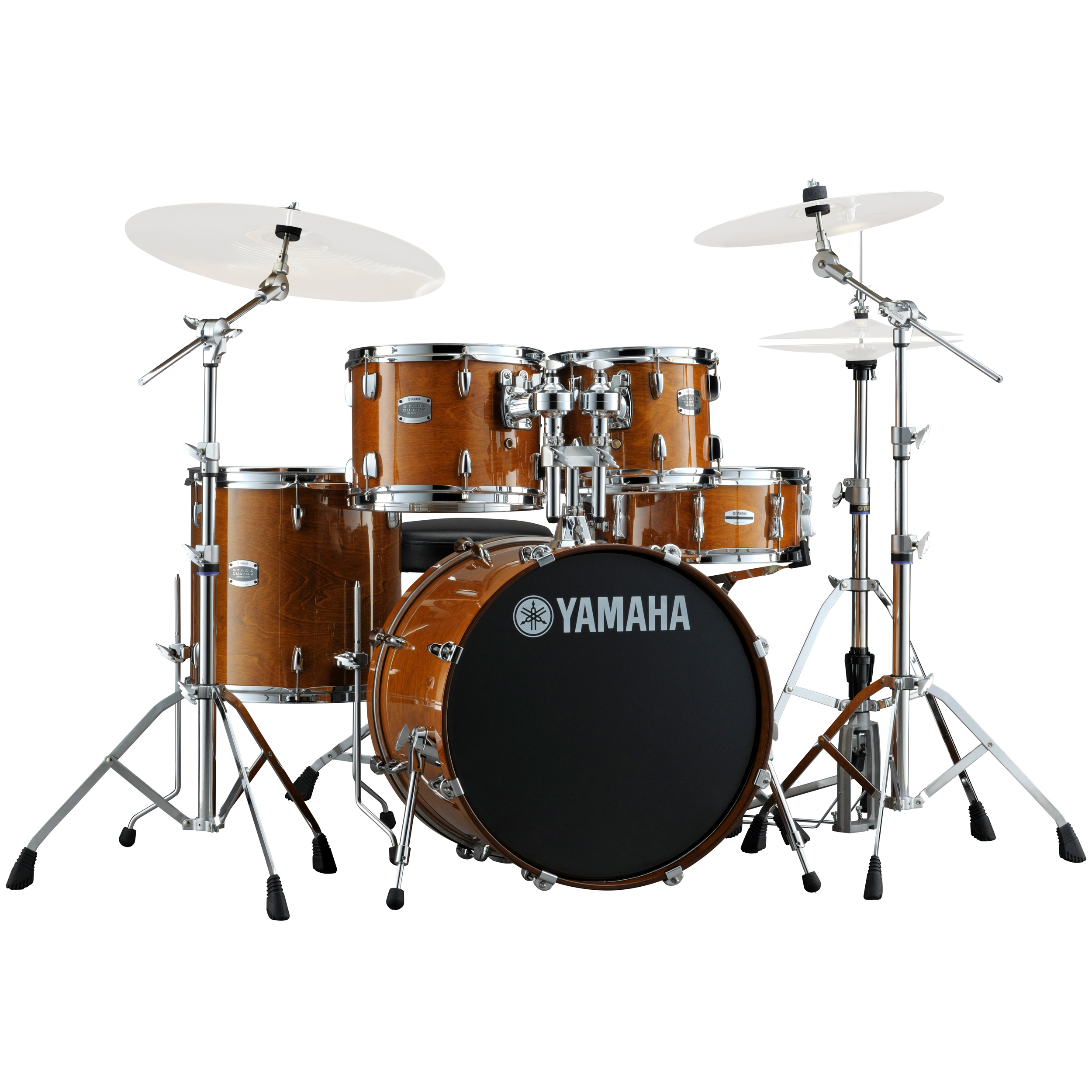 yamaha stage custom 5 piece rock drum set with hw 680w pack 20 bass 10 12 14 toms 14 snare. Black Bedroom Furniture Sets. Home Design Ideas