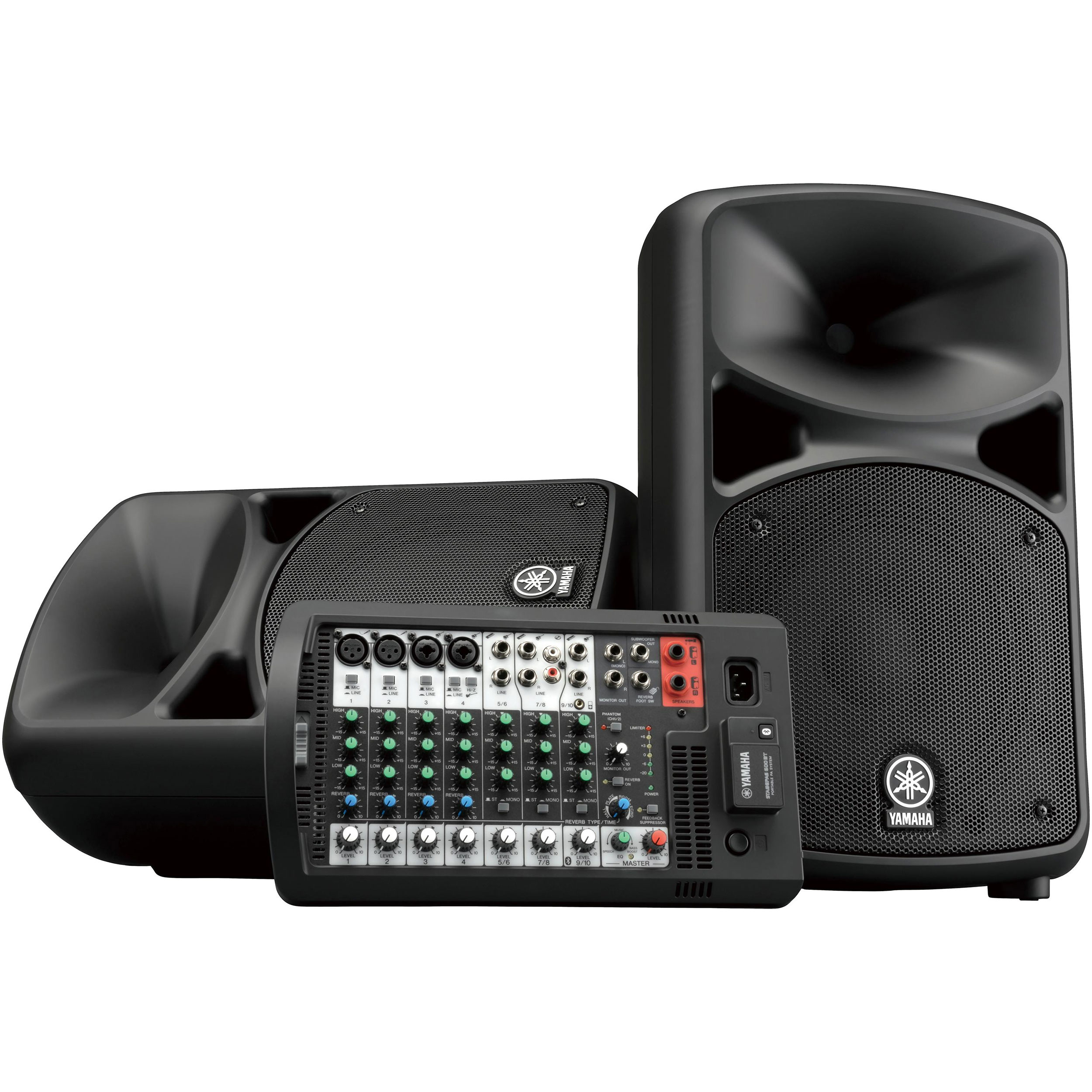 "Yamaha Portable PA System with 10-Channel Powered Mixer & 2 10"" 2-Way Passive Speakers, 2 Speaker Cables, & Bluetooth"